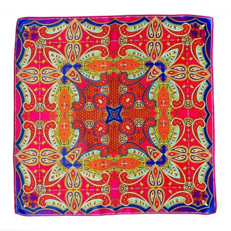 Inside beauty paisley fucsia silk scarf