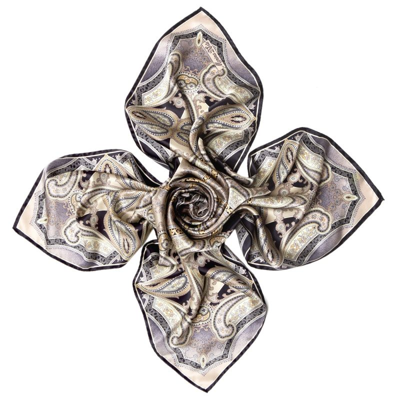 Inside beauty paisley beige Silk scarf