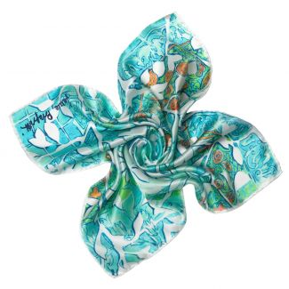 Women in love aqua Silk scarf