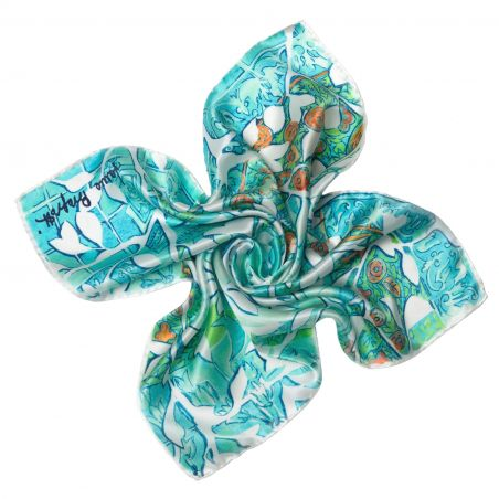 Women in love aqua Silk scarf