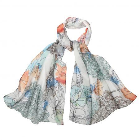 Silk shawl georgette Laura Biagiotti Tokio spring white