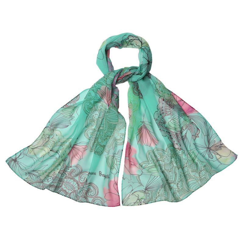 Silk shawl georgette Laura Biagiotti Tokio spring turcoise