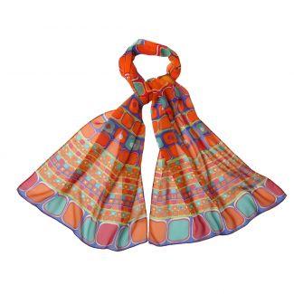 Silk shawl georgette Laura Biagiotti Mozaic orange