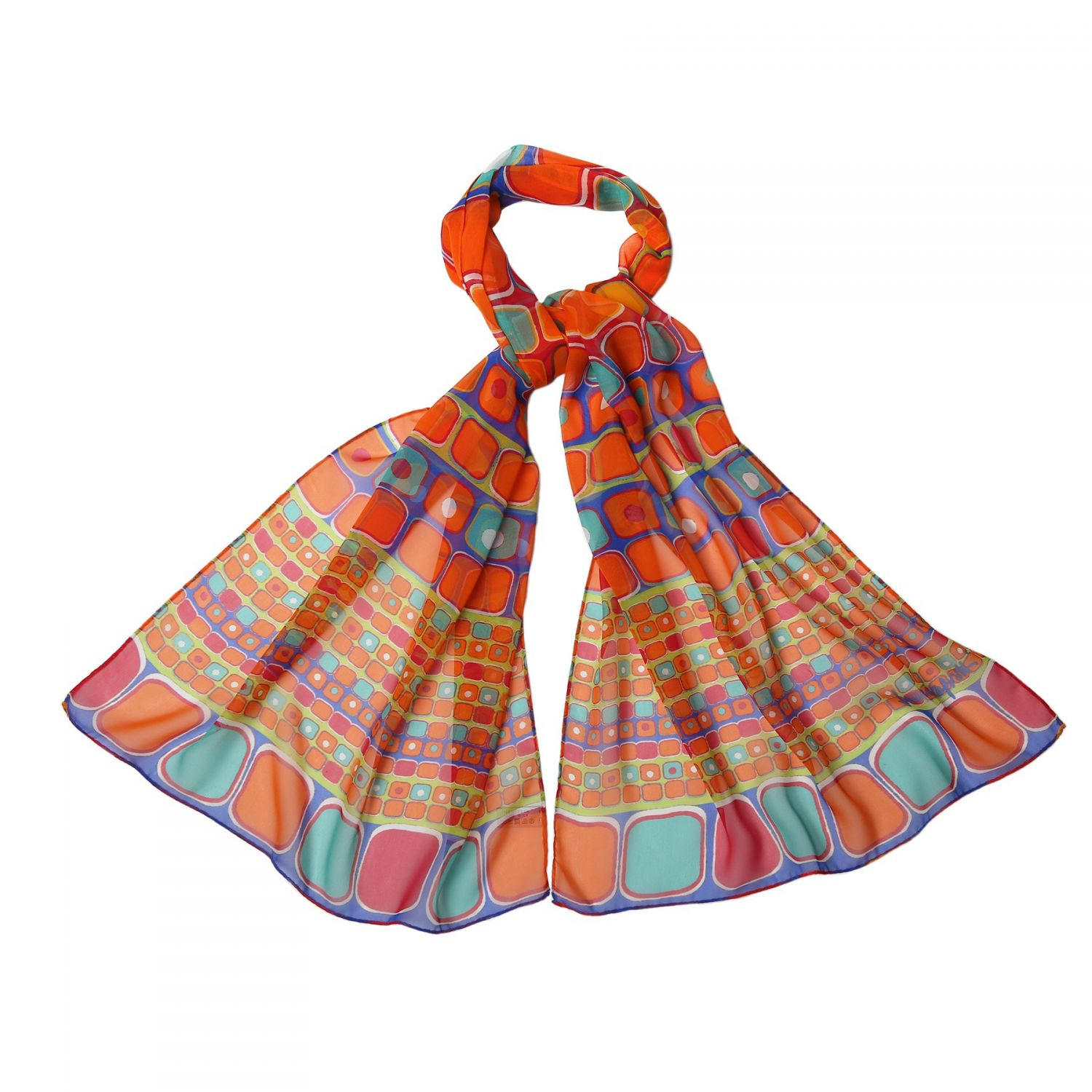 Silk shawl georgette Laura Biagiotti Mozaic orange