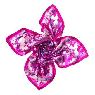Radiant pink flowers Silk scarf