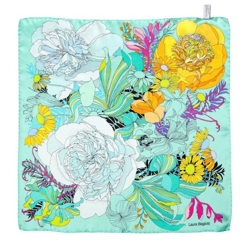 Japanese Flowers turcoise Silk scarf