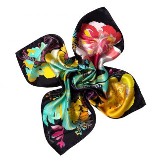 Japanese Flowers black Silk scarf