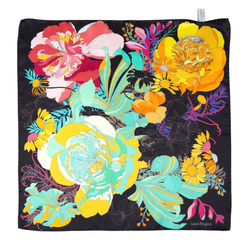 Japanese Flowers black Silk scarf