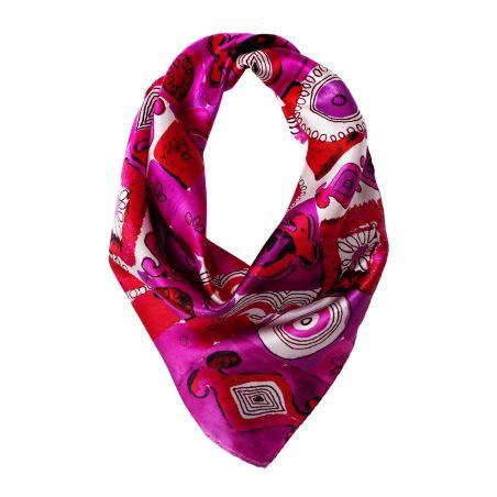 Jeux de société fucsia Silk scarf