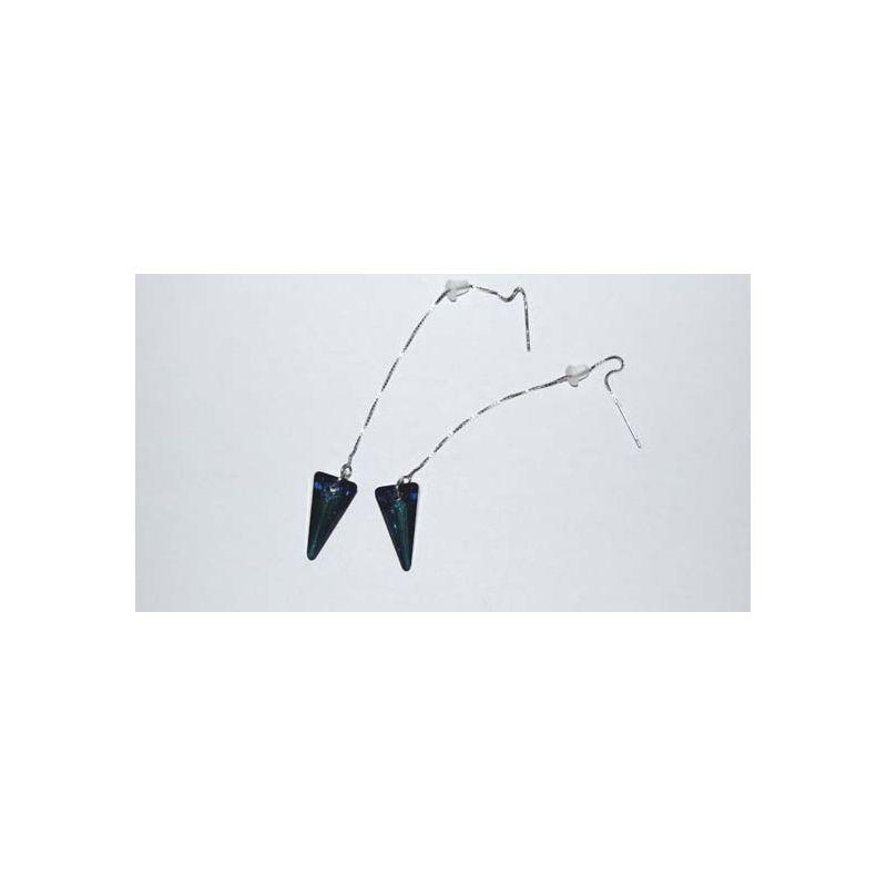 Cercei argint Swarovski Triunghi Bermuda Blue