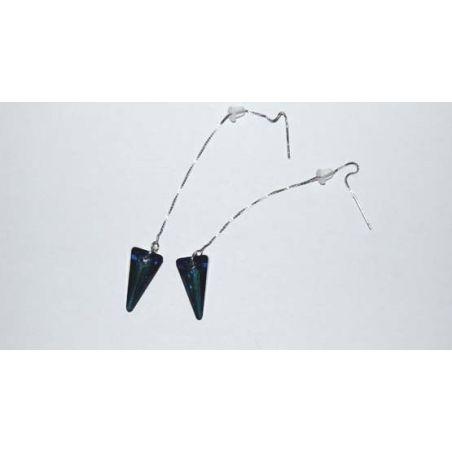 Silver earrings Swarovski Spike Pendant Bermuda Blue