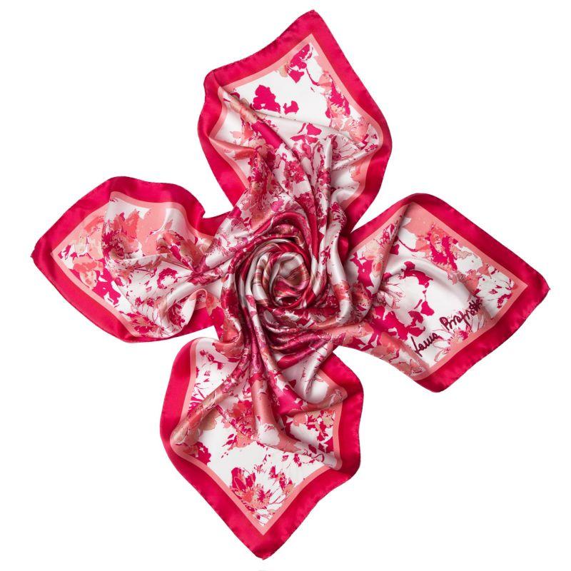 Esarfa matase Radiant pink flowers
