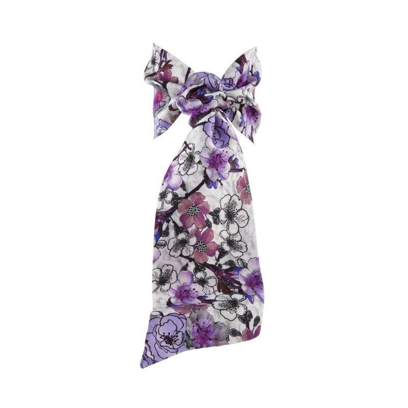 Eşarfă cu volan flori lila