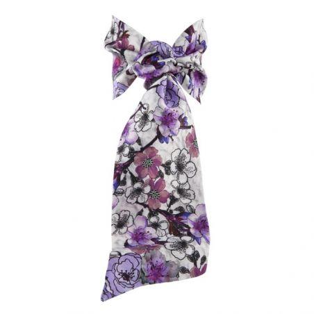 Flounce scarf with liliac flowers