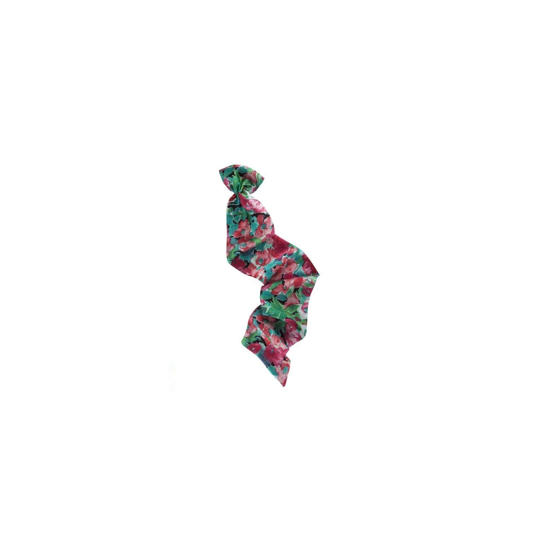 Eşarfă cu volan flori roşii pe fond verde