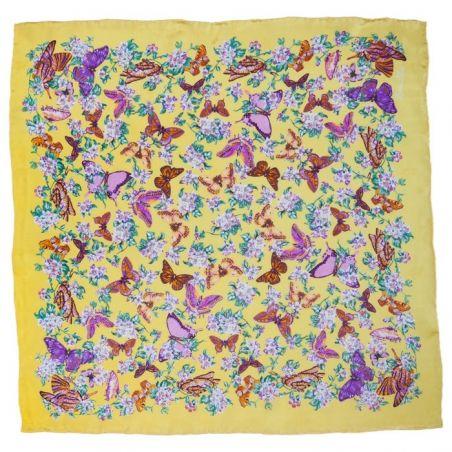 Eşarfă mătase naturală fluturi pe galben