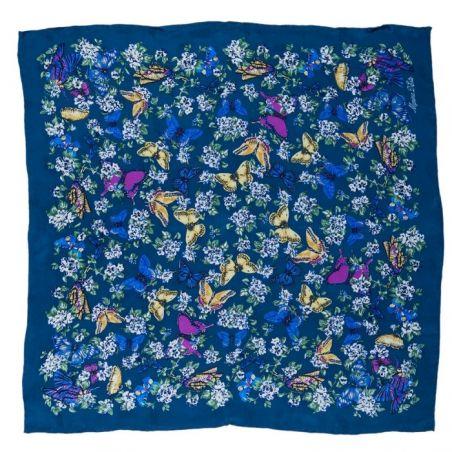 Eşarfă mătase naturală fluturi pe albastru