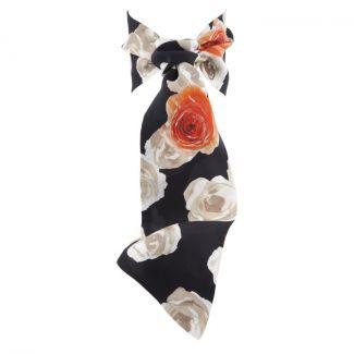 Eşarfă cu volan trandafiri albi