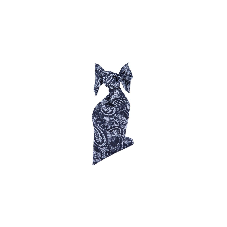 Eşarfă cu volan mătase & dantelă neagră