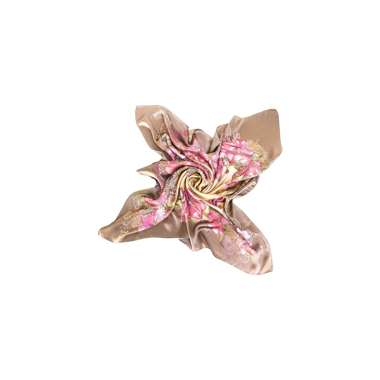 Silk Scarf Laura Biagiotti Storia d`amore kaki pink
