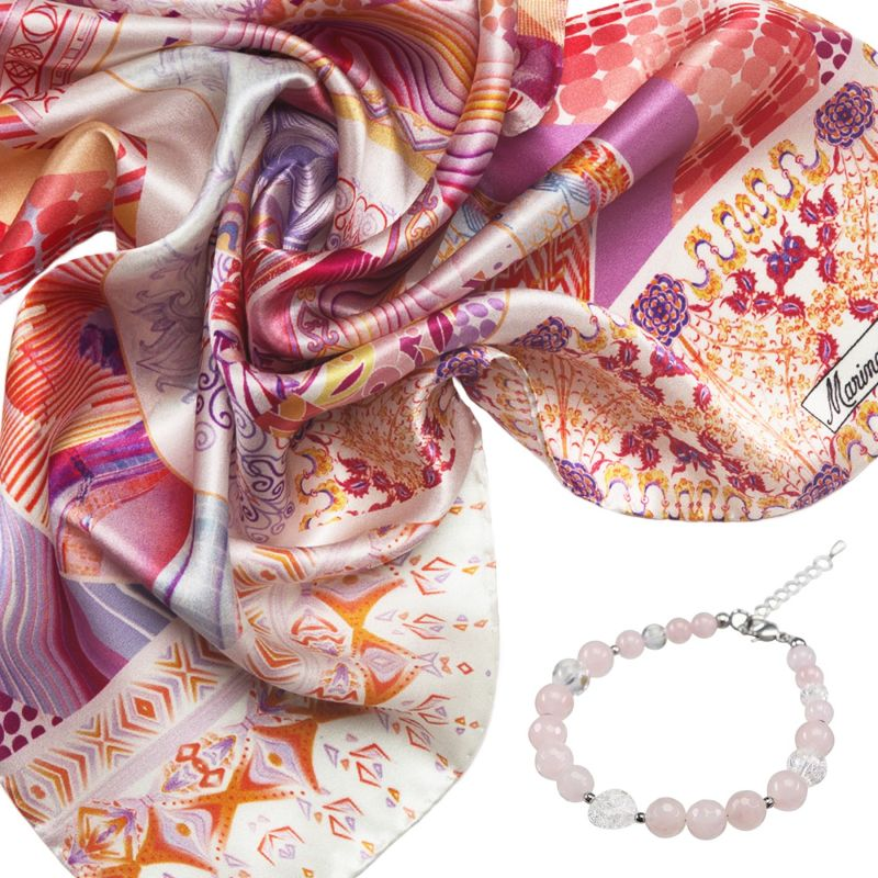 Gift: Silk scarf Innocence pink and Rose quartz crystal and heart ice  bracelet
