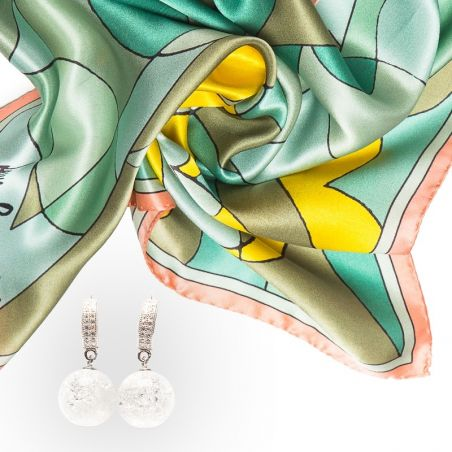 GIFT: Laura Biagiotti scarf abstract blue ice crystal and silver earrings
