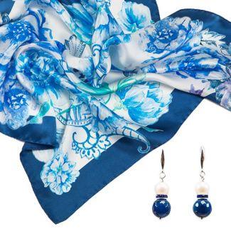 GIFT: Laura Biagiotti purple flowers scarf and bracelet amethyst, rose quartz, crystal ice