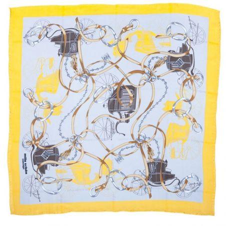 Eşarfă mătase naturală motiv ecvestru galben cu gri