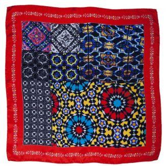 Mila Schon square scarf/geometric print on red