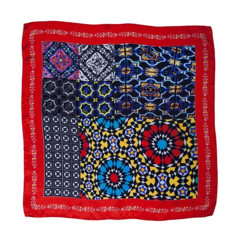Eşarfă Mila Schon roşu geometric