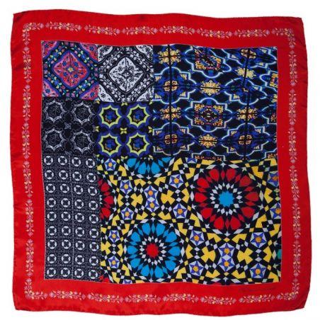 Eşarfă mătase naturală roşu geometric