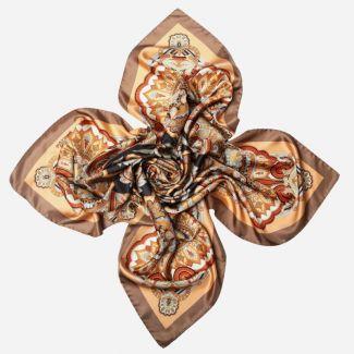 Gift: Carnaby Street Beige Silk Scarf and Egyptian Jasper tubes, hematite and Swarovski beads bracelet