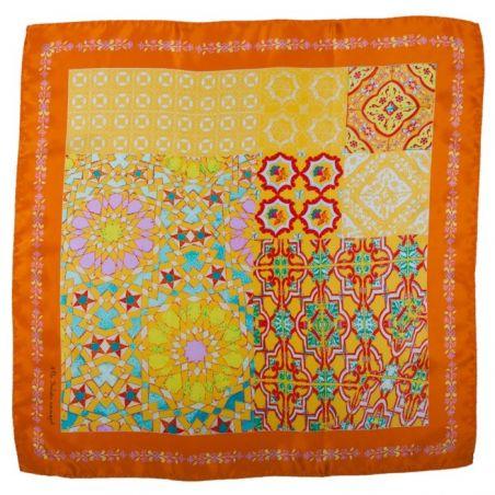 Eşarfă mătase naturală portocaliu geometric