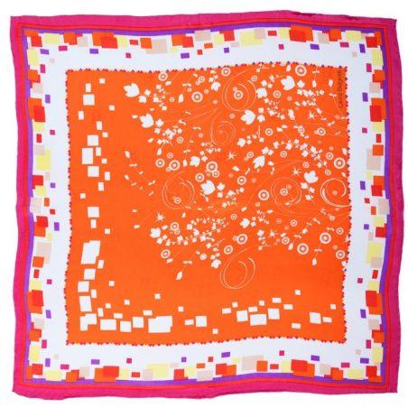 Eşarfă mătase naturală floricele pe portocaliu