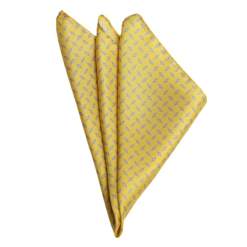 L. Biagiotti Grey Rhombus on Yellow Silk Pocket