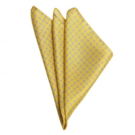 L. Biagiotti Grey Rhombus on Yellow Silk Pocket