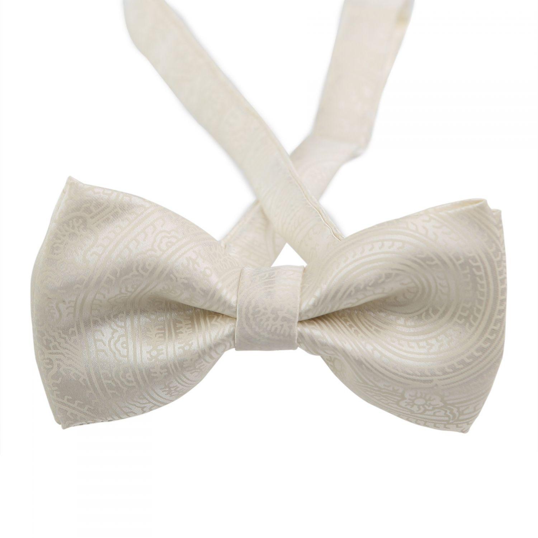 Paisley White Silk Bow Tie