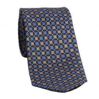 Cravata matase L. Biagiotti romburi cappuccino pe albastru