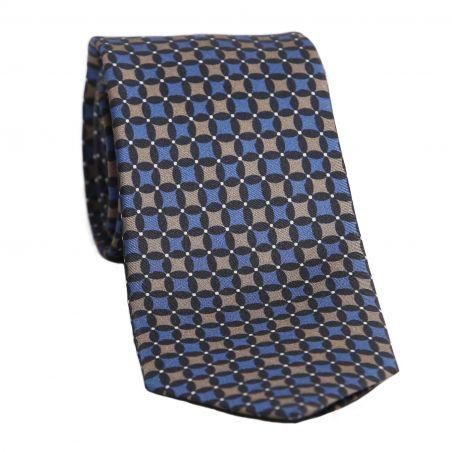 L. Biagiotti silk tie Cappuccino Rhombus on blue