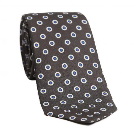L. Biagiotti silk tie White Circeles on graphite gray pattern