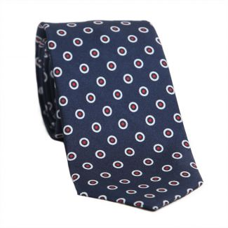 L. Biagiotti silk tie White Circeles on navy pattern