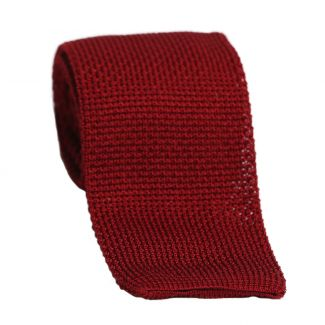 DM Ties Dark Red Knit silk tie