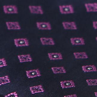 L. Biagiotti silk tie Rome navy small magenta design