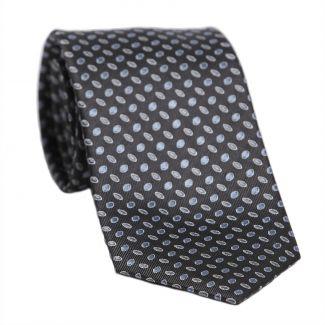 L. Biagiotti silk tie Milano green and grey pattern