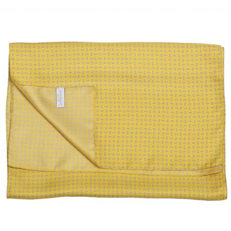 Men Scarf L. Biagiotti Grey Rhombus on Yellow