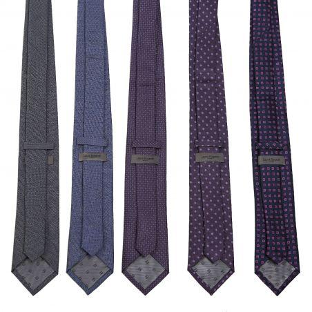 Cravata matase L. Biagiotti Rome navy small magenta design