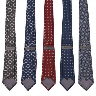 Cravata matase L. Biagiotti cercuri albe pe navy