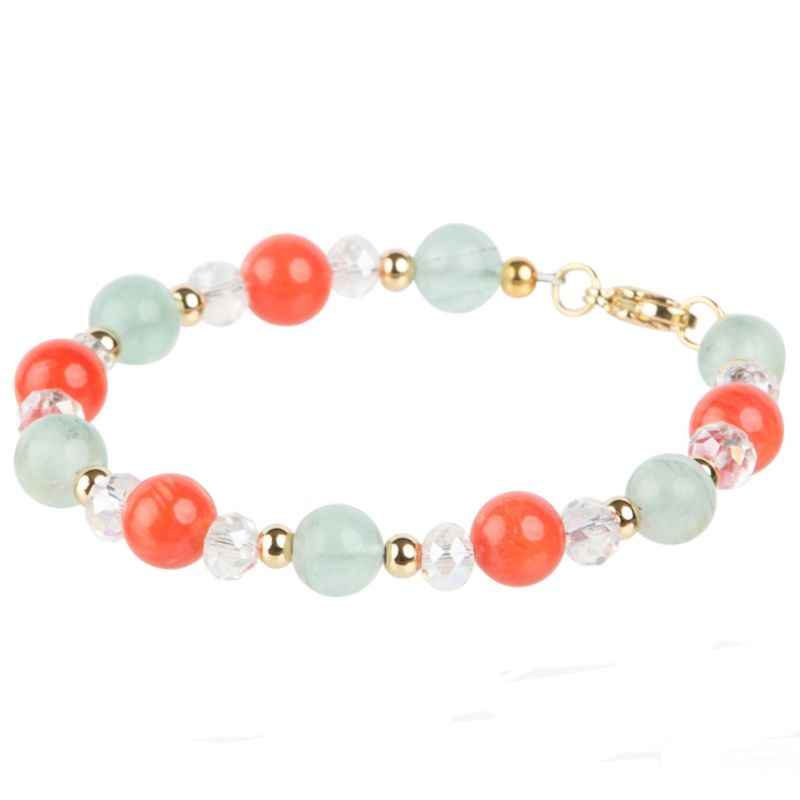 Mixed Pink coral, Green fluorite and Crystal bracelet
