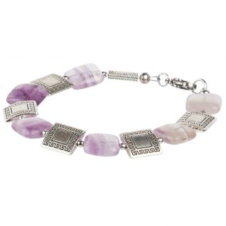 Fluorite and greek pattern charm bracelet