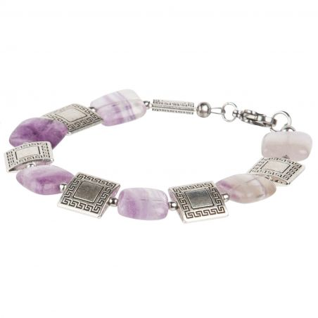 Fluorite and greek pattern charm bracelet